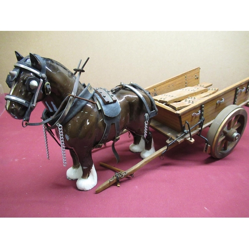 444 - Large Beswick Shire Horse in harness with wood and metal haycart (AF)