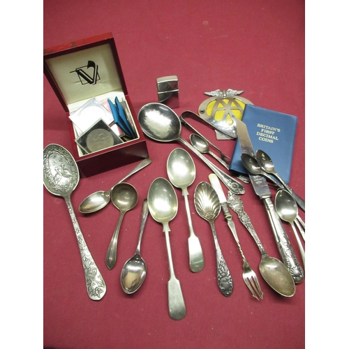 450 - Collection of various silver and silver plated spoons including a presentation spoon for the 1964 Hu...