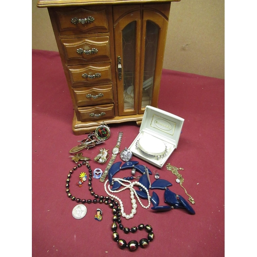 463 - Selection of various costume jewellery pin badges a stainless steel curb bracelet and a small wooden...