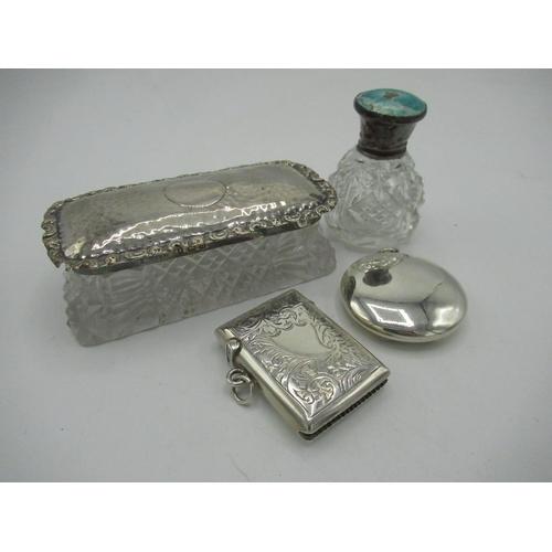 48 - Geo.V Birmingham hallmarked silver - a scent bottle with enamel top 1920 (A/F), sml. vesta 1926, com...