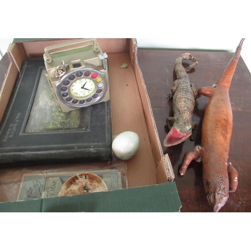 139 - Taxidermy baby crocodile and lizard, a French souvenir postcard from Boulogne, and other items inclu...