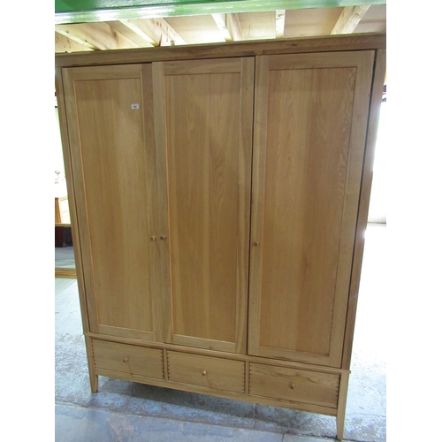 482 - Willis & Gambier Esprit light combination wardrobe with three doors above drawers W161cm D64cm H197c...