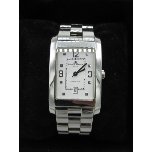8 - Baume & Mercier automatic wrist watch with date, rectangular stainless steel case on matching integr...