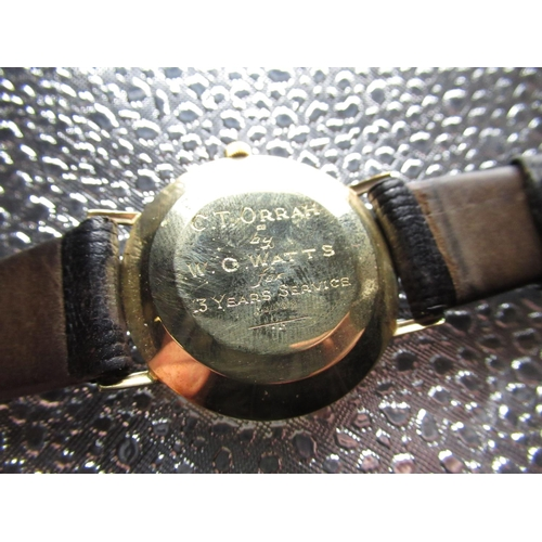 9 - Chateau automatic wrist watch with date, 9ct gold case on brown leather strap case back stamped .375...