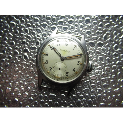 99 - WWII vintage Cortebert A.T.P. (Army trade pattern) mechanical wrist watch stainless steel case, silv...