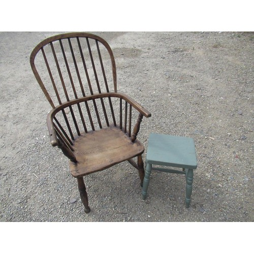 396 - 19th C ash and elm stick back Windsor armchair, and a Victorian painted stool with rectangular top o...