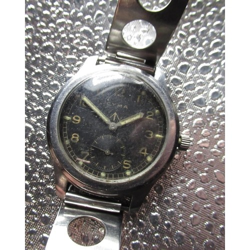 6 - WWII 'Dirty Dozen' Cyma military issue wristwatch, stainless steel case on later rally style stainle...