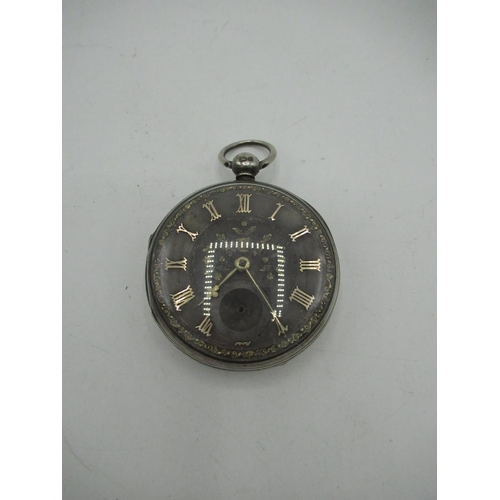 3 - Rich'd Rogers, Dudley Victorian silver open faced key wound pocket watch, silvered dial with added r...