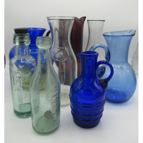 402 - Collection of blue and uncoloured glass vases, jugs and bottles (8)