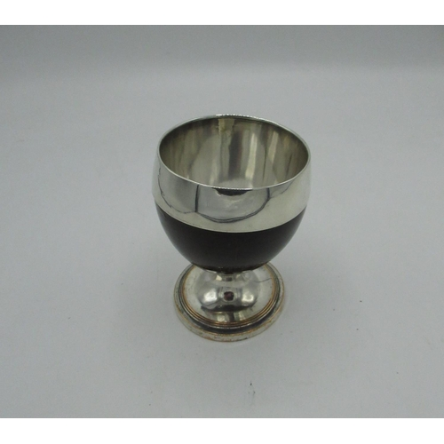 41 - 19th C EP on copper mounted treen goblet on reeded stepped base, engraved S, H10cm...