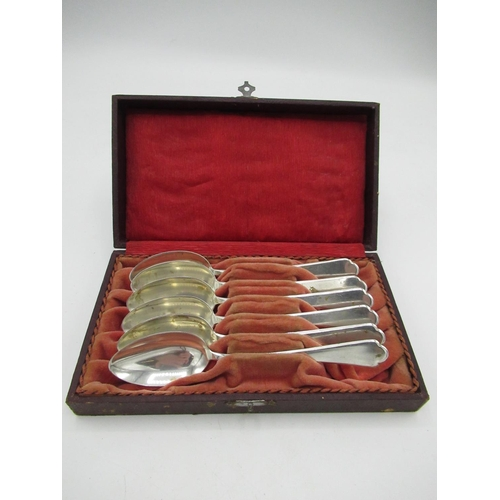 47 - Set of six German silver hallmarked Trefid spoons, stamped 800, in fitted case, 4.59oz...