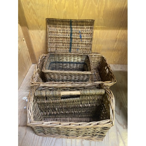 125 - Brexton wicker picnic basket lacking contents, wicker hamper, trug, and other wicker items...