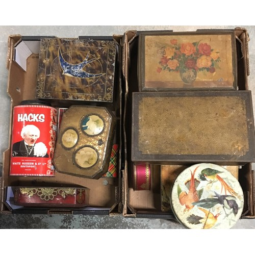 117 - Collection of vintage tin boxes including biscuit and sweet boxes