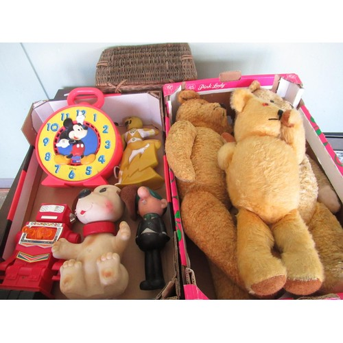 118 - A collection of vintage toys including a Mickey Mouse alarm clock and three large jointed teddy bear...