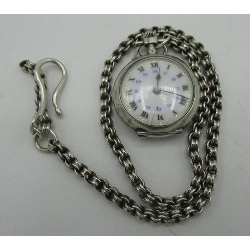 49 - Small silver open faced fob watch with Roman & Arabic numerals and star inlaid back, on belcher chai...