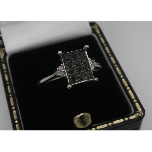 44 - 9ct white gold hallmarked twelve stone black diamond matrix ring, size O