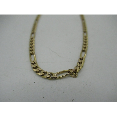 10 - 9ct gold Figaro chain necklace with lobster claw clasp L50cm, 11.5g