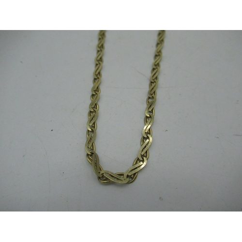 11 - 9ct gold flat chain necklace with lobster claw clasp L61cm, 11.1g