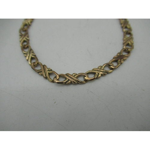 13 - 9ct gold flat figure of eight chain bracelet with lobster claw clasp L19.5, 10g