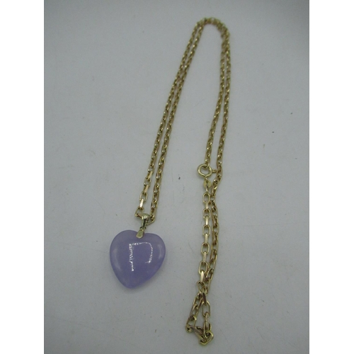 14 - 9ct gold cable chain necklace with heart shaped pendant with spring ring clasp L70cm, gross 18.5g