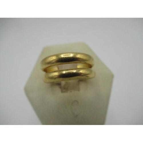 16 - Hallmarked 22ct gold wedding band P&W, Birmingham Size K, 4.2g and a hallmarked 22ct gold wedding ba...