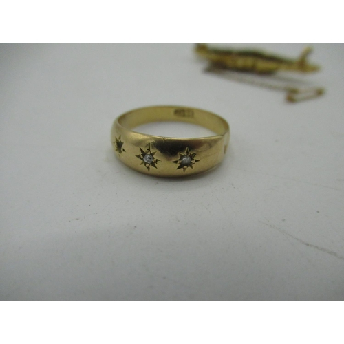 17 - 18ct gold hallmarked gypsy white stone ring, Birmingham, Size N, gross 2.2g (AF) and a 15ct gold spi...