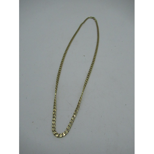 18 - 9ct gold 3mm flat curb chain necklace with lobster claw clasp L46.5cm 11.6g