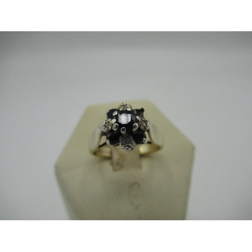 2 - C20th hallmarked 9ct gold, diamond and sapphire cluster ring, London 1977 Size J, gross 3g. (AF miss...