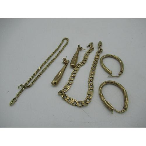 21 - 9ct gold hallmarked rope chain bracelet  L8cm 1.5g (AF), 9ct gold hallmarked nugget link/curb chain ...