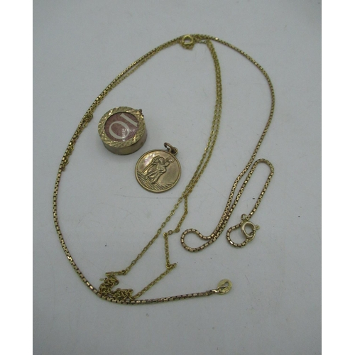 22 - 9ct gold box chain necklace with spring ring clasps L44cm 4.1, a 9ct gold hallmarked St Christopher ...