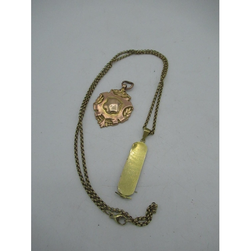 23 - 9ct gold belcher chain necklace with lobster claw clasp and drop pendant (AF) L53cm 7.4g and a 9ct g...