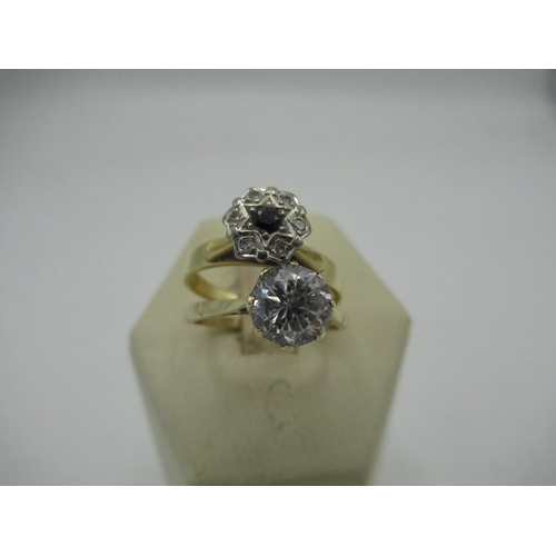 3 - C20th 18ct gold cluster ring Size N, gross 3.3g and C20th 9ct gold CZ solitaire ring Size O 1/2, gro...