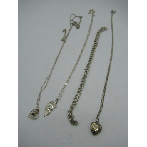 31 - Stamped 925 silver cable chain necklace with heart pendant and spring ring clasps, stamped 925 cable...