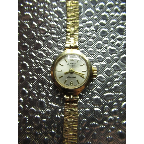 37 - Rotary ladies wrist watch hallmarked 9ct gold case on bark effect bracelet with snap on back. Rotary...