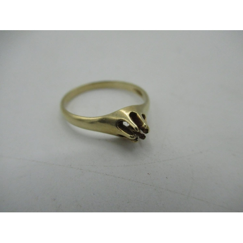 39 - Stamped 14ct gold ring lacking stone Size O 1/2, 2g