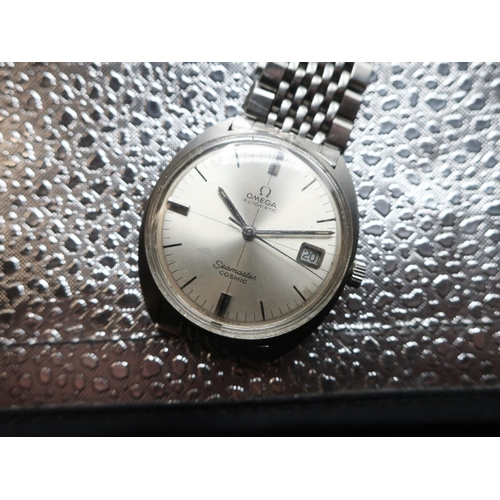 48 - Omega Seamaster Cosmic automatic wristwatch with date. Stainless steel case on matching stainless st...