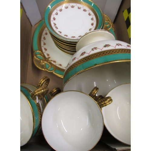 71 - Victorian Coalport style 27 piece dinner service with jade green border, gilt highlights and decorat...