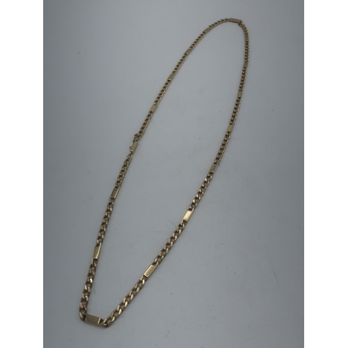 110 - 9ct gold Figaro chain necklace with bracelet clasp stamped 375 L68cm 41.1g...
