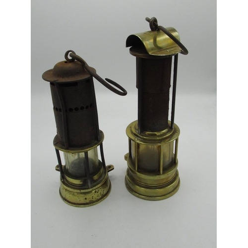 162 - 19th C Gibson & Ilkeson (Ilkeson worn) brass and steel miners safety lamp H25cm, and a smaller miner...