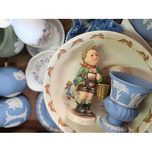 309 - 1930s Myott, Son & Co. hand painted jug, Hornsea Stoneware pattern no.103 novelty jug, Goebel figure...