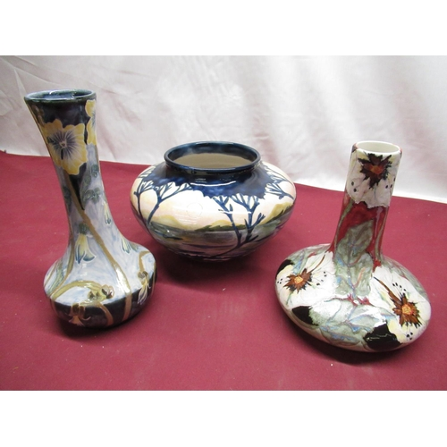 316 - Colbridge glazed stoneware trial bowl decorated with Twilight woodland and mountain scenery, impress...