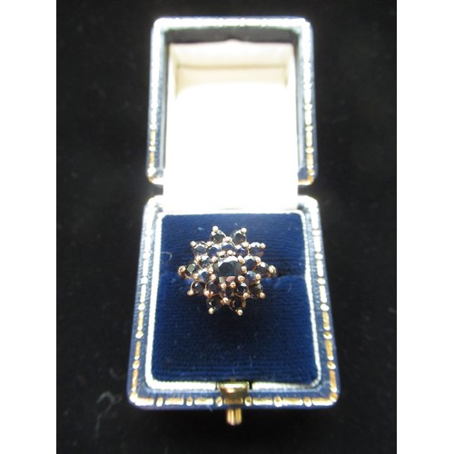 17 - 9ct gold sapphire cluster ring stamped 9ct Size J 1/2 3.9g