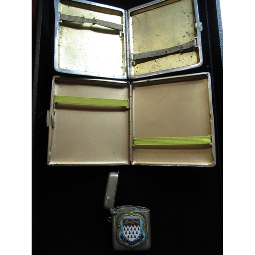 44 - WITHDRAWN - Silver plated Vesta with Chichester crest to front stamped EPNS and two cigarette cases ...