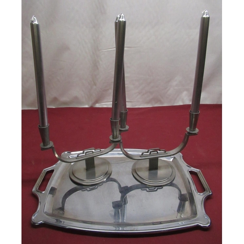 101 - Ystad, Sweden pair of C20th Art Deco two branch candlesticks stamped to the base H17.5cm, and 1930's...