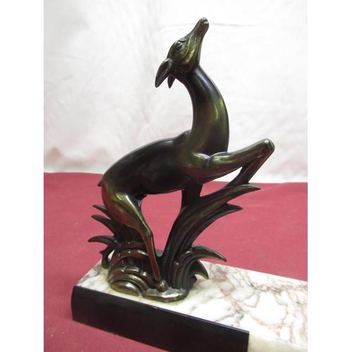 103 - C20th Art Deco design photograph holder, black slate and white marble geometric design and bronzed m...
