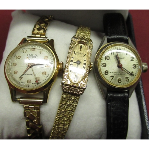 112 - Ladies Roamer hand wound wristwatch, gold plated case on expanding bracelet, ladies Jubilee wristwat...