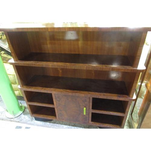 116 - Art deco walnut 4 tier open bookcase with single cupboard door to the base W102cm D24cm H99cm
