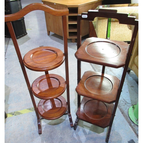 124 - Mahogany 3 tier art deco cake stand and another similar cake stand (2)