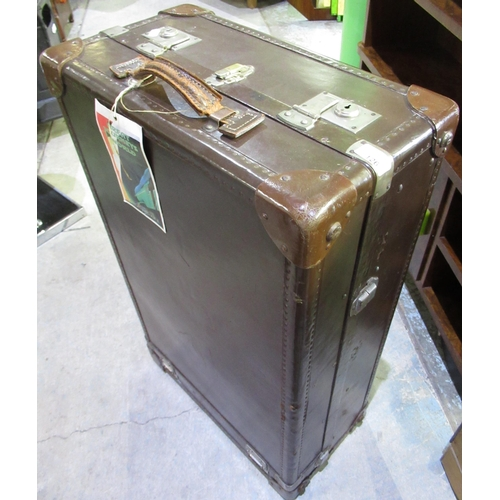 126 - Early to mid C20th cabin trunk with fitted interior W49cm D29cm L80cm
