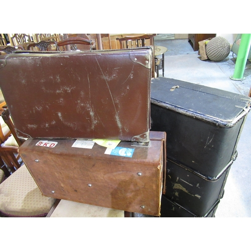 127 - Mid C20th brown leather suitcase and another faux leather suitcase (2)